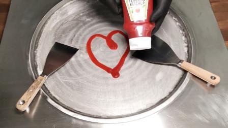 番茄酱也能做炒冰淇淋?老板太会玩了,猜一猜是什么味道?
