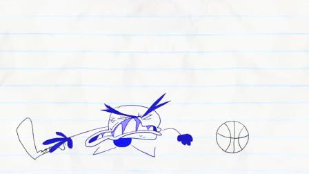 搞笑铅笔动画,铅笔人扔掉小黑球,又换了新球