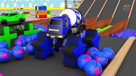 大脚车玩滑梯 过彩球池 换轮胎 变颜色 幼儿早教认识图形车辆