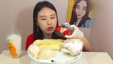 韩国吃播美女卡妹晚餐就吃蛋糕 满满的奶油好治愈啊
