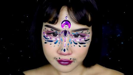 国外时尚美妆,小姐姐自创的奇幻透明眼妆,完成后好迷人啊