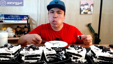 韩国大胃王胖哥,吃奥利奥奶油蛋糕,这么多一个人能吃完嘛