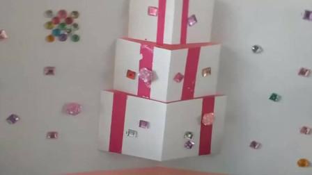 创意折纸立体生日贺卡,打开有漂亮的礼物盒子,简单易学有创意