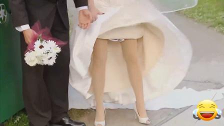 熊孩子真会恶搞,钻到新娘婚纱裙底,国外搞笑恶作剧
