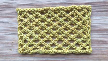 棒针编织斜纹网格,精致立体,织围巾很漂亮用毛线钩织