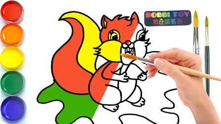 波比简笔画:教你如何画小松鼠,认识颜色学习英语,儿童轻松学画画