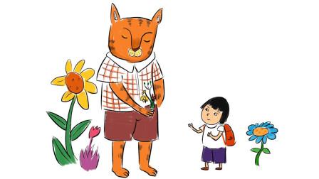 小范亲子简笔画 害羞的猫先生与可爱的小女孩