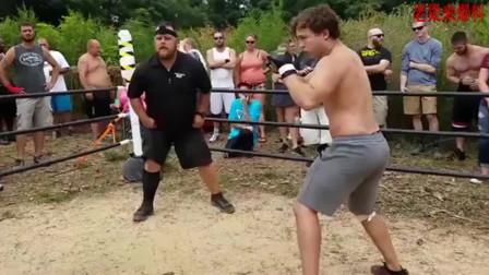 真实的实战格斗,两壮汉无限制出拳,比起太极多了一份血性!