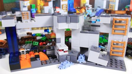 我的世界积木 丰富的三层矿洞大场景之钻石矿蠹虫洞 拼装玩具 鳕鱼乐园