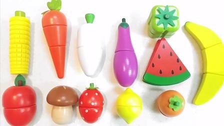 学习水果和蔬菜玩具厨房魔术贴切割水果和蔬菜的名称