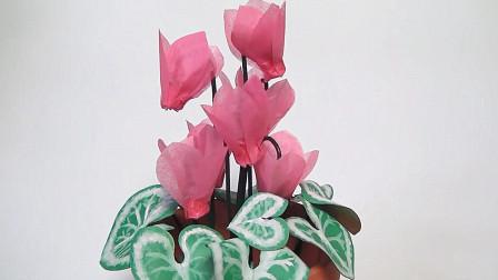 DIY纸艺教程,仿真花朵盆栽的制作方法,简单又有创意!