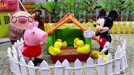 佩佩猪给鸭宝宝搭建鸭窝