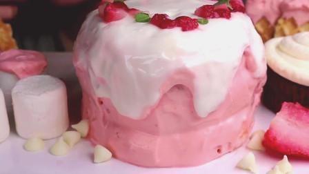 国外女吃货, 吃草莓、棉花糖、脆片华夫饼、红丝绒芝士杯子蛋糕