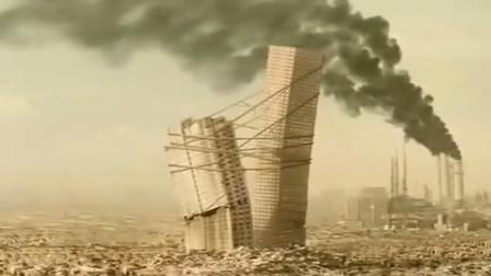 未来世界环境恶劣,垃圾堆了几个世纪没人清理,楼倒了就用绳子绑