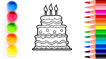 彩色大蛋糕玩具图像绘画