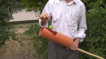 """45岁大叔发明""""水果采摘""""神器,不用油不用电,20元造一把"""