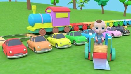 学习颜色和学习英语 玩具车 和 玩具火车