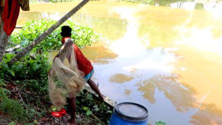 印度小哥捕鱼,撒一网,拉上来收获满满一网的鱼,好开心!
