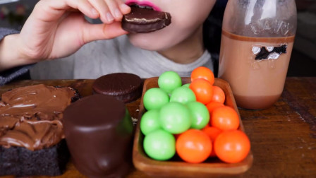 巧克力球、坚果蛋糕、巧克力棉花糖、热可可的吃播,热量超高