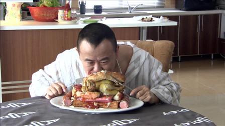 大叔在家自制汉堡包,浪费了那么多食材,能吃的下去么?