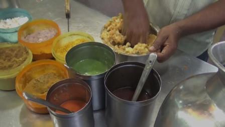 印度街头小吃,最流行的小吃SevPuri普利球和糊糊