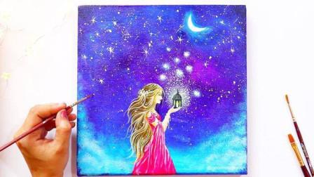 用丙烯颜料画月光下的女孩,成品非常漂亮,超详细绘画教程
