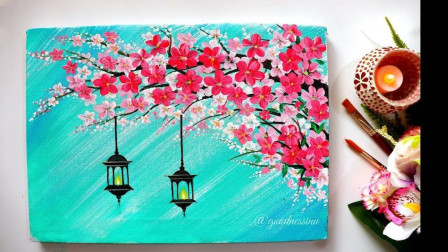 用丙烯颜料画樱花树下的吊灯,非常简单成品很漂亮,详细绘画教程