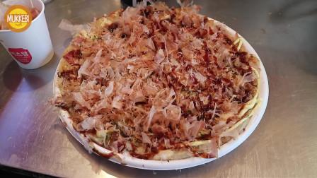 韩国街头的日本小吃,奶酪御好烧,虾仁火腿芝士木鱼花