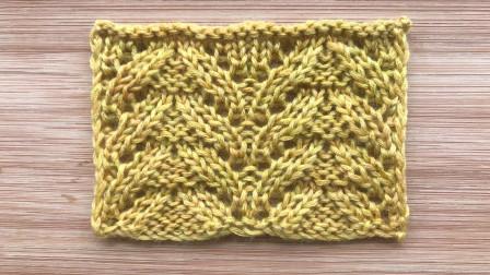 一款棒针编织的叶子花,精致细小,织衣服围巾都漂亮详细步骤图解视频