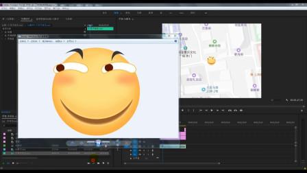 PR教程11 滑稽脸在地图上行走视频制作,学会基础的关键帧应用