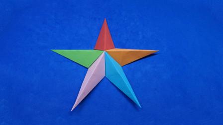 DIY创意手工,教你用纸做五角星,漂亮又简单