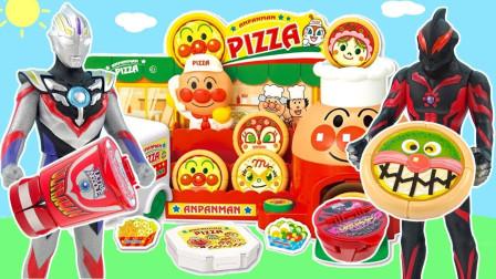 儿童玩具·:奥特曼披萨店奥特蛋大作战,面包超人披萨外卖店,超人力霸王卖食玩!