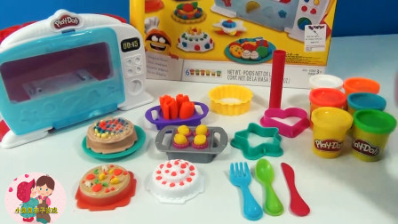 微波炉烤箱做蛋糕玩游戏,奶油蛋糕水果蛋糕,儿童玩具亲子互动