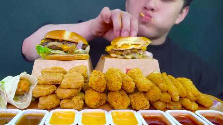 美食吃播:大胃王小哥吃香脆鸡块,加上大汉堡吃的真爽!