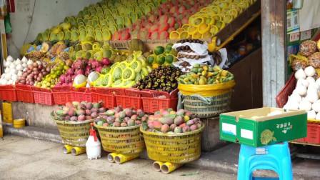海南,三亚吉阳鸿港农贸市场门口,水果摆得挺整齐啊.mp4