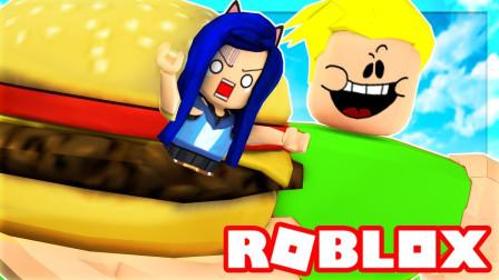 Roblox吃货巨人模拟器!被胖子巨人抓住一口吞了下去?咯咯多解说