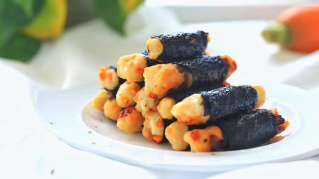 家庭自制海苔鸡肉卷,小孩太喜欢吃啦 。