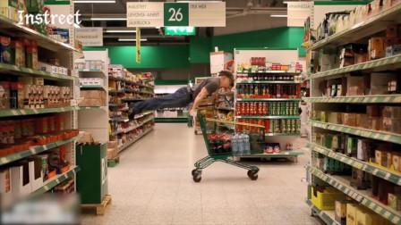 原来超市的购物车也是健身大神们的器材之一,不过这样真的好搞笑啊