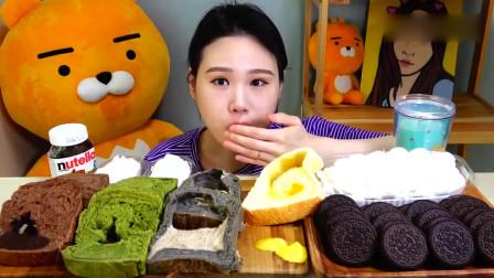 韩国吃播,面包奥利奥和牛奶,甜品时间到了