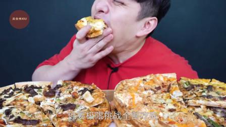 韩国大胃王挑战10人份牛肉披萨,吃的满嘴都是酱料,看得小编肚子都咕咕叫!