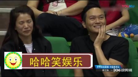张智霖袁咏仪现身世界女排联赛,连续两年赛场助威恩爱无比_标清