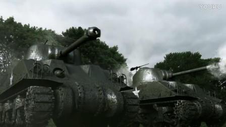 阿登战役:美军重型坦克狂扫德军坦克,一炮一辆,场面火爆