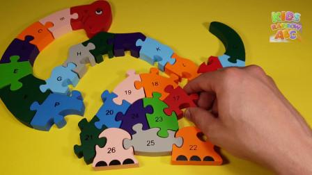 用拼图计算1到0之间的数字为学龄前儿童学习字母到
