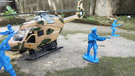 直升机军事攻击战斗战斗机压铸金属拉回儿童玩具
