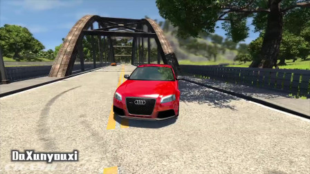 车祸模拟器:奥迪与警车的火花,奥迪飞落山崖无可救药!