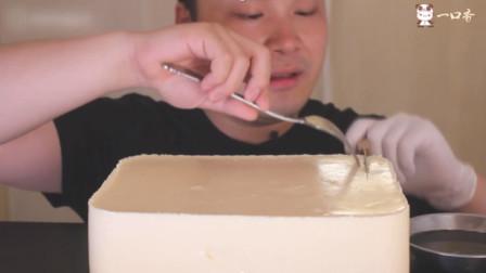 胖哥自制超大号牛奶布丁蛋糕,加上焦糖味道美爆了,就是吃相太尴尬