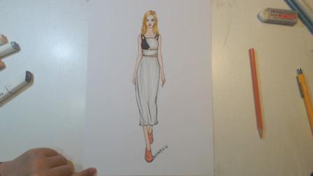 服装手绘效果图   来自简约风的黑白礼服