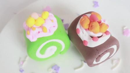 用粘土捏的点心:蛋糕卷,超级可爱,看着好想吃!创意手工DIY