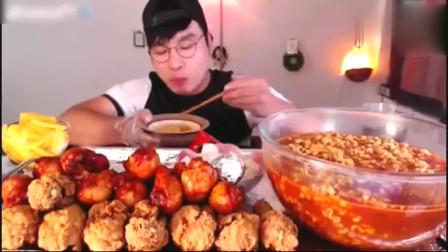 吃播大胃王一人吃10人份美食,看的我都饿了