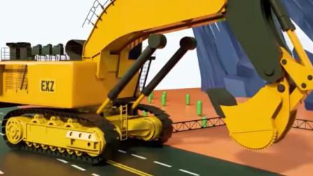 儿童工程车动画 超级卡车挖掘机吊车翻斗车共同建造跨海大桥